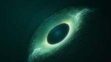 Spy Artificial Intelligence Concept. Virtual Surveillance System Screen. Abstract Futuristic Digital Technology Eye In Dark Green. Eye Viewing Digital Information.