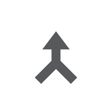 Merged Arrow Vector Icon Symbol Isolated On White Background