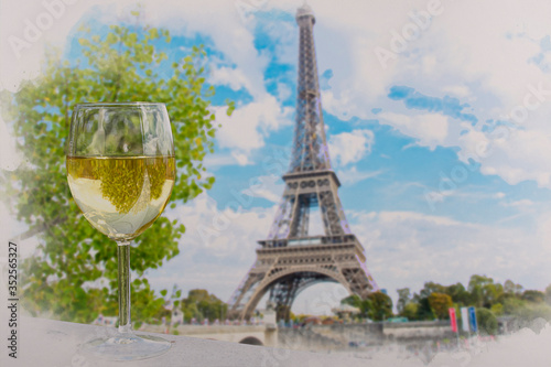 Fotografija Watercolor effect of view of glass of white wine with Eiffel tower view in Paris