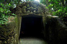 Ancient Tunnel Or Ruins Cave Of Mandala Suci Wenara Wana Or Ubud Sacred Monkey Forest Sanctuary For Balinese And Indonesian People And Foreigner Travelers Travel Visit At Ubud City In Bali, Indonesia