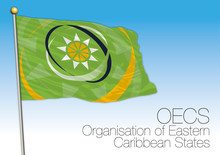 OECS, Organization Of Eastern Caribbean States Flag And Symbol, Central American Economic International Organization, Vector Illustration