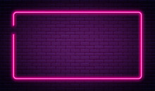 Neon Sign In Rectangle Shape. ...