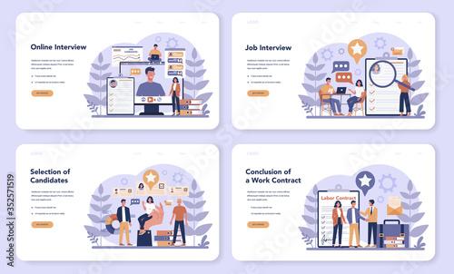 Obraz Job interview web banner or landing page set. Idea of employment - fototapety do salonu