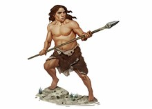 Full Color Realistic Illustration Of Neanderthal Holding Stone Age Spear