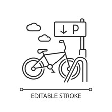 Bicycle Parking Rack Pixel Perfect Linear Icon. Ecological Transportation. Navigation For Bike. Thin Line Customizable Illustration. Contour Symbol. Vector Isolated Outline Drawing. Editable Stroke