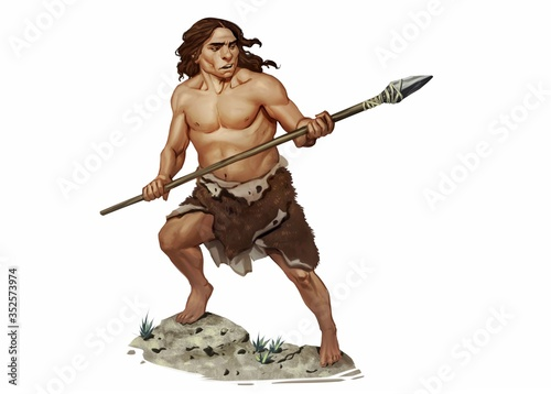 Fotografie, Obraz Full Color Realistic Illustration of Neanderthal Holding Stone Age Spear