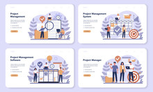 Project Management Web Banner Or Landing Page Set. Successful