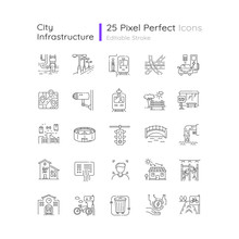 Urban Infrastructure Pixel Perfect Linear Icons Set. Public Service. Passenger Transport. Customizable Thin Line Contour Symbols. Isolated Vector Outline Illustrations. Editable Stroke