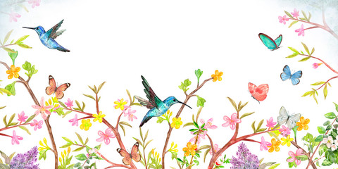 Fototapeta Drzewa banner with stylized spring blooming bushes. border with flying birds and butterflies for your design. watercolor painting