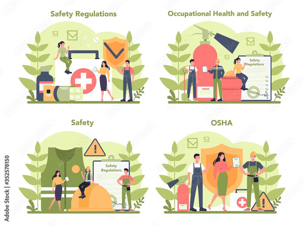 Fototapeta OSHA concept set. Occupational safety and health administration.