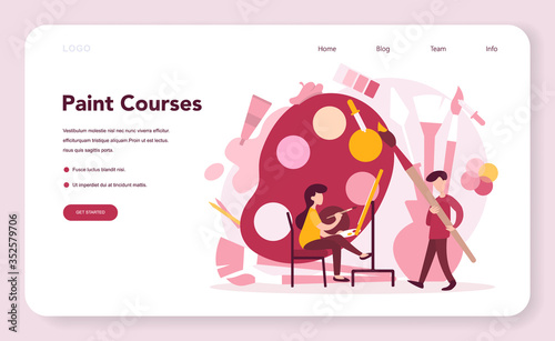 Obraz Art education web banner or landing page. Male and female artist - fototapety do salonu