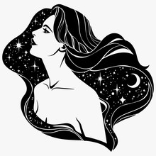 Portrait Of A Fairy Girl With Long Hair In Profile, Outline Without Filling