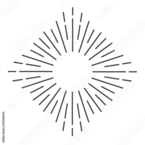 Fototapeta Retro Sun burst shape for your vintage design project. Sun ray frame vector design elements. Stock vector illustration obraz na płótnie