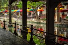 San Antonio River Walk Near Alamo Between E Crockett St And E Commerce St In Downtown San Antonio, Texas, USA.