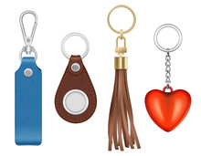 Trinket Realistic. Different Shapes And Textures Of Keychains Metal And Golden Circle Rings Vector Trinket Collection. Illustration Keychain And Leather, Metal Ring Realistic
