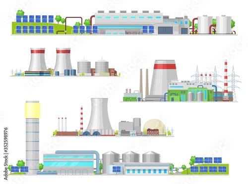 Nuclear and power plant, gas station isolated vector building icons Fototapet