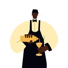 A Dark-skinned Barman In A Yel...
