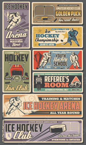 Ice hockey retro posters, vector sport team players with sticks, pucks and winner trophy cup. Referee on rink, skates and goalie mask, goal gate, uniform and helmet. Championship, hockey club banners © Vector Tradition