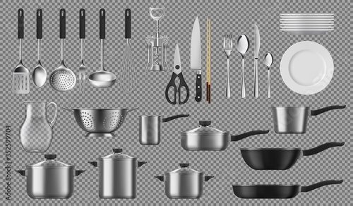 Fotomural Kitchenware and tableware, dishware and crockery vector cooking set