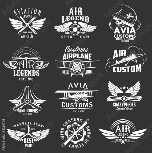 Aviation heraldic icons set, isolated vector labels avia customs and retro aviation symbols of airplane propeller and aircraft wings Canvas Print