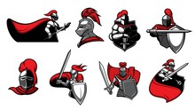 Medieval Knights With Swords, Isolated Heraldic Vector Icons. Warriors, Paladin Or Guards With Blade In Armour And Cape. Heraldry Symbols Of Royal Knight In Helmet With Red Plumage, Ancient Soldier