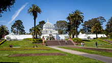 View Of The Conservatory Of Flowers, A Greenhouse And Botanical Garden That Houses A Collection Of Rare And Exotic Plants, In Golden Gate Park.