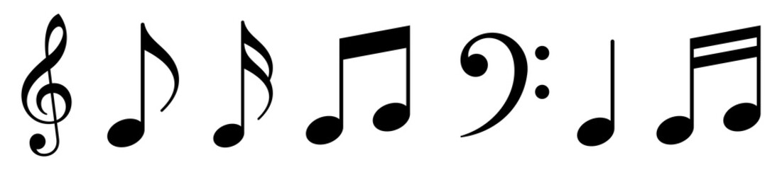 Music notes icons set. Vector