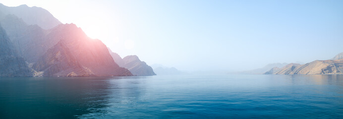 Sea tropical landscape with mountains and fjords, Oman