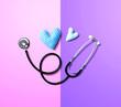 Leinwandbild Motiv Medical worker appreciation theme with hearts and a stethoscope