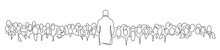 Creative Man Giving A Talk On Stage To Audience In The Conference Hall Continuous One Line Drawing. Hand Drawn Vector Silhouette. Crowd Of People In The Auditorium