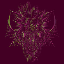 Abstract Shaggy Head Of A Wolf And A Mythical Animal With Large Ears Of Pink And Green On A Red Background