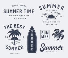 Variety Of Summer Emblems Set