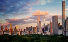 New York City Upper East Side Skyline Over The Central Park At Sunset, USA.