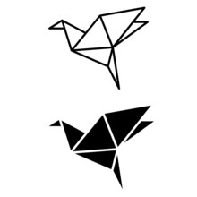 Origami Bird Vector Icon Set. ...
