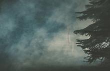 Ghost Of Girl In Dark Foggy Fo...