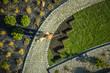Leinwandbild Motiv Gardener in Newly Build Backyard Garden