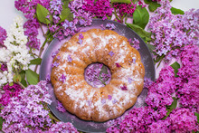 Cake With Purple Lilac Flowers...