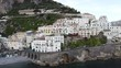 Beautiful aerial view of the spectacular little village of Amalfi, along the Amalfi Coast, nearby Salerno, Positano and Naples.