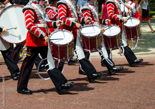 Queen's Guards marching with drums Canvas Print