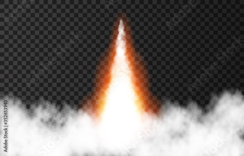 Fototapeta Flame and smoke from space rocket launch.