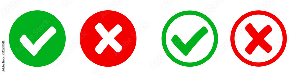 Fototapeta Check mark and X mark icon. Checkmark and x mark icon for apps and websites. Green and red check mark icon on white background - stock vector.