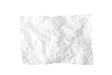 A Piece Of Crumpled Wrinkled White Office Paper Isolated On White, Texture Of Writing Paper With Wrinkles