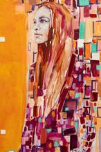 Oil Painting, Female Portrait, Handmade