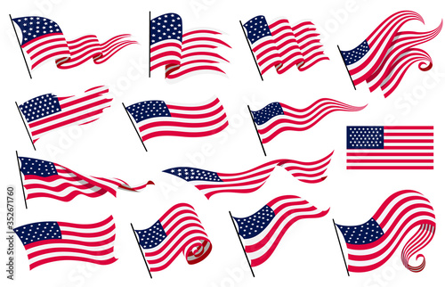 Obraz na plátne Collection waving flags of the United States of America