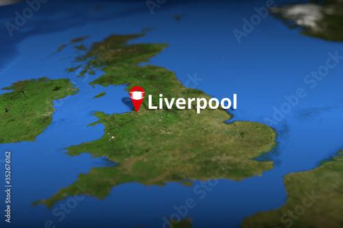 Liverpool, United Kingdom geotag with face mask, COVID-19 coronavirus disease quarantine related 3D rendering