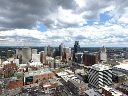 Fototapety, obrazy: Aerial View Of City Against Cloudy Sky