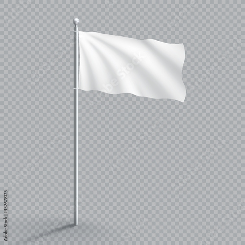 Plain White Realistic Waving 3d Flag Template On Flagpole Fototapeta