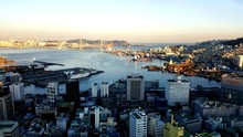 High Angle View Of City At Wat...
