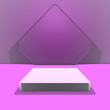 Leinwandbild Motiv Podium, stage, pedestal. Trendy background with stand for product presentation. Minimalistic concept. Abstract blank layout in purple hues. 3D rendering