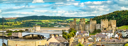 Fototapeta Panorama of Conwy with Conwy Castle in Wales, United Kingdom